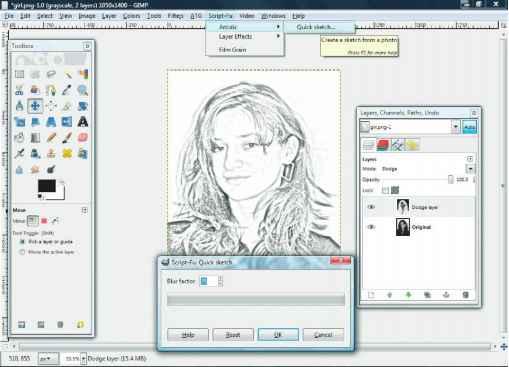 Gimp Sketch Effect Script